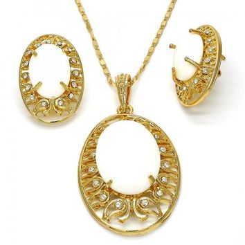 Gold Layered Necklace and Earring, with Azavache and Crystal, Gold Tone