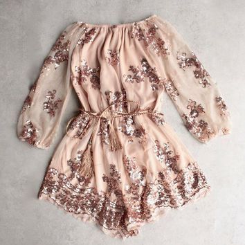 ESBOND reverse - life of the party strapless sequin romper - rose gold