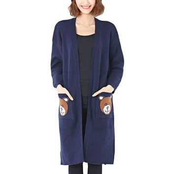 [15804] Bear Pattern Long Sleeve Midi Cardigan