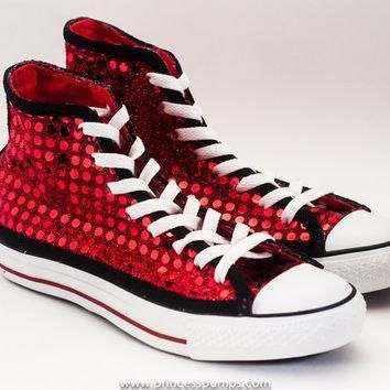 red black sequin hi top converse sneakers shoes