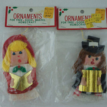 "Retro Felt Christmas Ornaments ""Caroler with Musician"" Kmart Figurines"