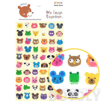 Adorable Pig Bunny Owl Cat Bear Face Shaped Jelly Stickers | Cute Animal Themed Scrapbook Decorating Supplies