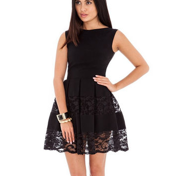 R80049 Fit and flare women clothing elegant design two colors new arrivals 2015 women dresses o-neck fashion skater lace dress
