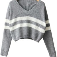 Grey V Neck Striped Long Sleeve Cropped Knit Sweater