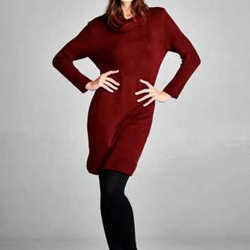 Turtleneck Sweater Dress - Burgundy
