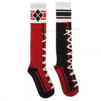 Harley Quinn Lace-Up Knee High Socks