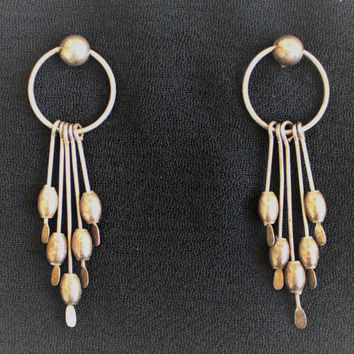Vintage Boho Hippie Dangle Earrings In Tarnished Silver Tone