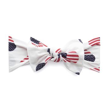 Red, White and Blue Flag Hearts Baby Bow