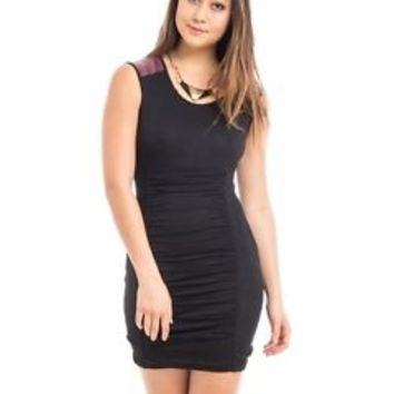 Sexy Fitted Black Body Con Dress w/ Faux Leather Shoulders - Club Party NEW