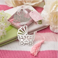 Free Shipping wedding Favor baby carriage stroller metal Bookmark 20pcs/lot baby Shower party Favors Decoration Birthday Gift