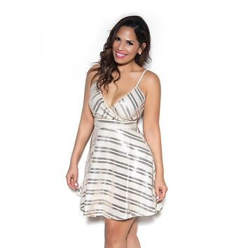 Spaghetti Strap Fit-and-Flare Sequined Dress In Taupe Gold