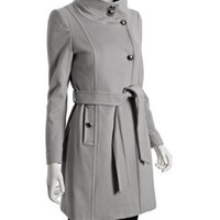 Tahari light grey wool 'Izzy' belted coat at Bluefly