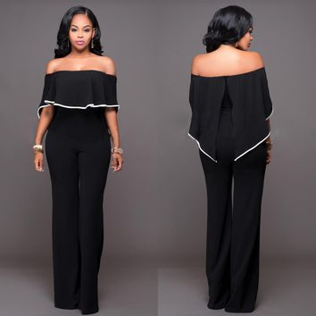 Womens Trendy Off Shoulder Ruffle Jumpsuit