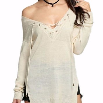 Sherri Lace Up Tie V Neck Pullover Sweater
