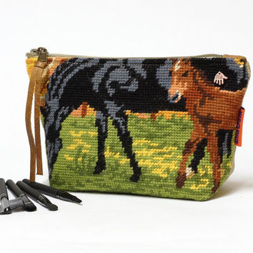 Cosmetic Bag | Horse Decor |  Makeup Pouch | Zipper Pouch | Needlepoint bag | Large Makeup Bag Handmade by EllaOsix