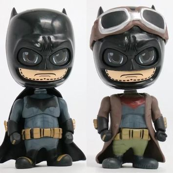 Batman Dark Knight gift Christmas Batman Bobble Head Mini Action Figure 1/10 scale painted figure Cute Ver. Batman Bruce Wayne PVC figure Toys Brinquedos Anime AT_71_6