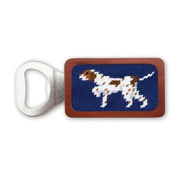 Pointer Needlepoint Bottle Opener in Classic Navy by Smathers & Branson