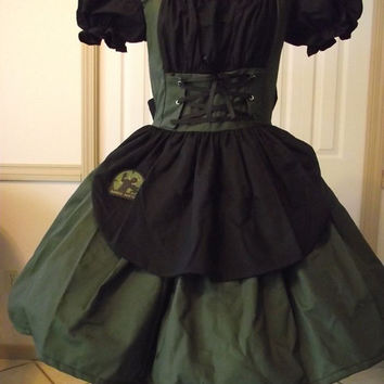 Gothic Lolita Zombie Hunter Dress Costume Cosplay Army Green and Black Womens Custom Size Plus Made to Measure
