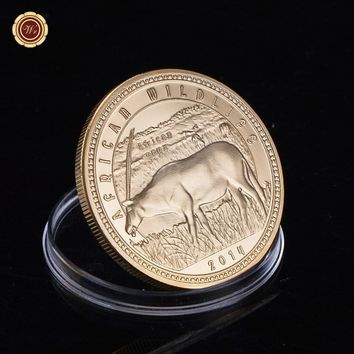 WR 24k Gold Foil Metal Coin Animal Coin Rare Wildlife Animal Bimetallic Coins Metal Collecting Decor