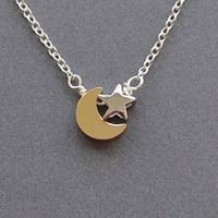 Moon & Star necklace, moon star jewelry, moon necklace, star necklace, I love you to the moon and back