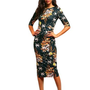 Womens Elegant Vintage Floral Flower Printed Slimming Tunic Casual Party Pencil Sheath Bodycon Dress