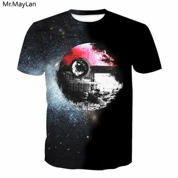 Pokeball Death Star Print 3D T-Shirt Sexy Tee  Wars Black t shirt Summer Women Men Casual Pullover Tops Plus size 5XLKawaii Pokemon go  AT_89_9