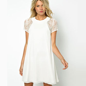 White Chiffon Dresses Loose Short Sleeve Lace Patchwork Mini Dress O Neck A Line Causal Summer Dresses for Girls