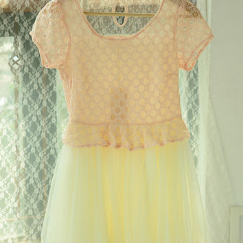 Short Sleeve Crochet Lace Pleated Chiffon Dress