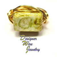 DWJ0540 Gorgeous Green Luster Picasso Czech Art Glass Gold Wire Wrapped Ring All