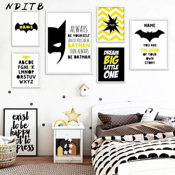 Batman Dark Knight gift Christmas Batman Mask Nursery Quotes Wall Art Canvas Posters and Prints Cartoon Painting Decorative Pictures Boys Kids Bedroom Decoration AT_71_6