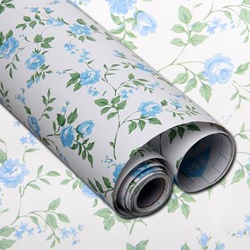 yazi Blue Rose Flower Rustic Self Adhesive Shelf Drawer Liner Paper Stickers Wallpaper Wall Sticker 200x45cm
