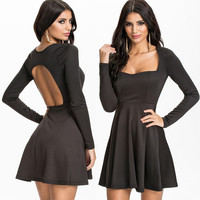 Long Sleeve Cutout Back Skater Mini Dress