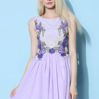 Orchid Embroidered Fairy Tulle Dress in Violet Purple