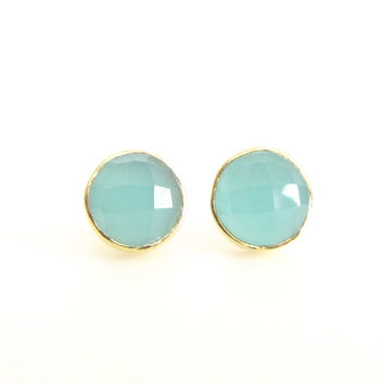 Aqua Chalcedony Round Stud Earrings