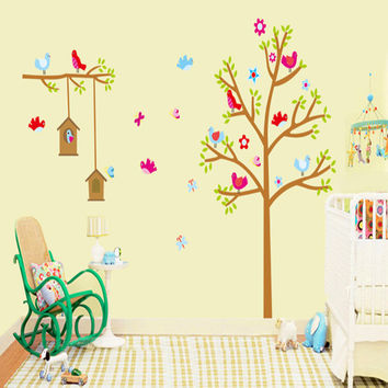 New trees bird's nest children room sitting room household adornment wall stick mobile stick on the wall SM6