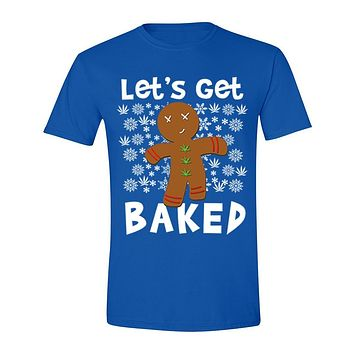 XtraFly Apparel Men's Let's Get Baked Gingerbread Man Cookie Ugly Christmas Crewneck Short Sleeve T-Shirt