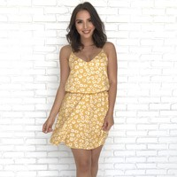 Freshly Picked Mustard Yellow Floral Print Summer Dress