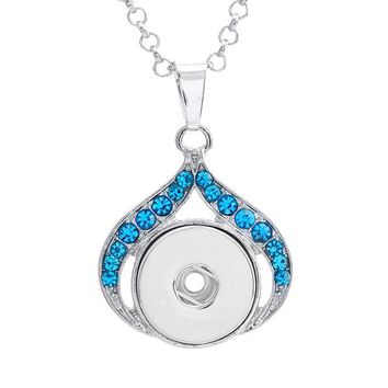 Crystal Water Drop Snap Button Pendant Necklace