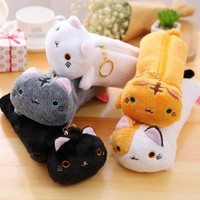 DCCKL72 Japanese Style Cute Varied Color Cat Pencil Canvas Case Stationery Storage Organizer Bag School Office Supply Escolar