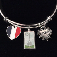 Paris Eiffel Tower Silver Expandable Charm Bracelet Adjustable Bangle Vacation Travel Gift French