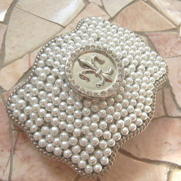 Fleur De Lis Belt Buckle, Silver Western Pearl Womens Girls Belt Buckle, Mardi Gras Silver Belt, New Orleans Saints Sports Custom Buckle