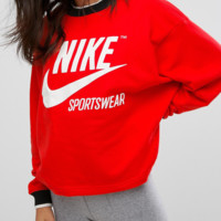 Nike Archive Red Top Sweater Pullover Sweatshirt - Love Q333