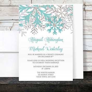 Winter Reception Only Invitations - Snowflake Teal White Silver - Winter Post Wedding Reception - Printed Invitations