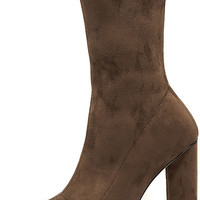 Unbelievably Chic Taupe Suede High Heel Mid-Calf Boots