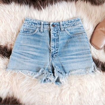 VINTAGE• 1990s Calvin Klein High Waist Denim Cut Offs•