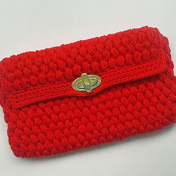 Red Fashion Clutch Bag for Girls, Spring Clutch Bag, Crochet Bag, Hand Bag,Red Purse