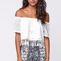 See You Monday Crochet Crop Top - Womens Shirts - White