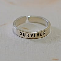 Cancer survivor sterling silver toe ring