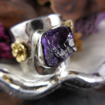 Natural Amethyst Rough Gemstone Sterling & Brass Ring - Size 8