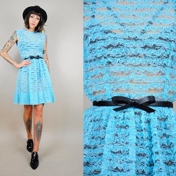 ruffle LACE vtg 50's dolly DRESS sheer striped baby blue Flouncy PINUP bombshell 60's Small / Medium